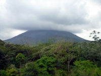 Looking up at the Arenal volcano