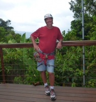 Lucky at the canopy tour - no nerves yet!