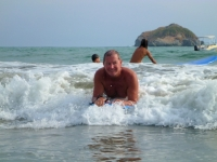 Lucky ruling the waves at Playa Manuel Antonio