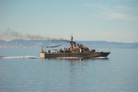 Mexican Navy patrol boat passes by near La Paz