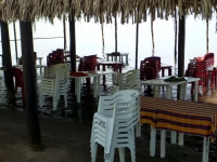 High tide at a Matanchen Bay beach restaurant